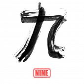 Chinese number word, nine, in traditional ink calligraphy style.