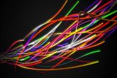 Rainbow Strands Line Glow Dark Background