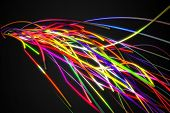 Rainbow Colorful Strands Line Glow Dark Background