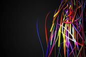 Half Rainbow Strands Line Glow Dark Background