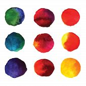 Set of watercolor hand painted gradient circles isolated on white