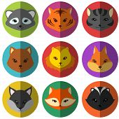 Vector set of colorful cartoon animals flat icons