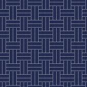 Traditional Japanese Embroidery Ornament Sashiko. Vector seamless pattern.