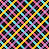 Contrast plaid fabric background with yellow blue and pink. Abstract seamless vector pattern.