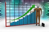 business man standing near a financial graphc