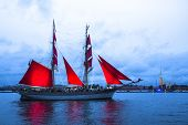 ST.PETERSBURG, RUSSIA - JUN 20, 2014: The frigate participated in festivities marks school graduatio