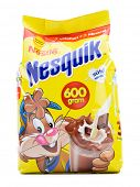 Ankara, Turkey- April 12, 2013: Nestle Nesquik powder isolated on white background.