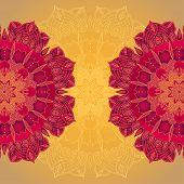 stock photo of macrame  - vector delicate lace round mandala pattern template - JPG
