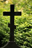 black cross gravestone