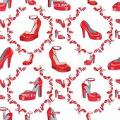 Fashion Seamless Pattern.womens High Heel Shoes