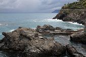 Cliffs along the Mediterranean sea in Cinque Terre, Italy.