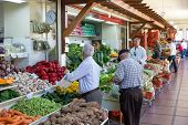 Funchal, Portugal - May 02: Unknown People Visiting The Vegetable Market Of The Famous Mercado Dos L