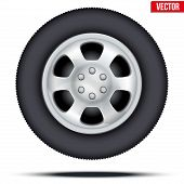 Tire and wheel of car. Vector Illustration