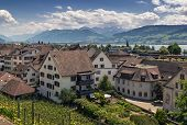 stock photo of zurich  - view of Rapperswil and zurich lake from the castle walls Switzerland - JPG
