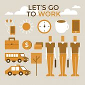Go to work infographic vector