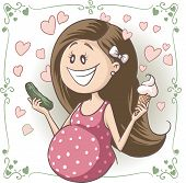 Pregnant Woman Craving Ice Cream and Pickle Vector Cartoon