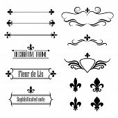 picture of fleur de lis  - Collection of calligraphic flourish design elements - JPG