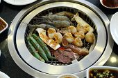 pic of korean  - Food on Korean BBQ grill  - JPG
