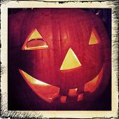Instagram filtered image of a Halloween Jack o lantern