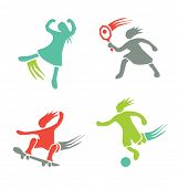 active sports girls icons vector set 1