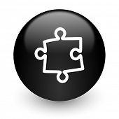 puzzle black glossy internet icon