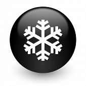 snow black glossy internet icon