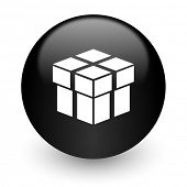 box black glossy internet icon