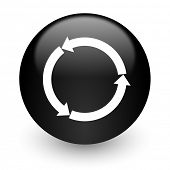 refresh black glossy internet icon