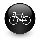 bicycle black glossy internet icon