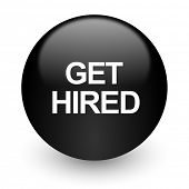 get hired black glossy internet icon