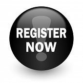 register now black glossy internet icon