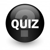 quiz black glossy internet icon