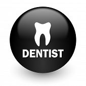 dentist black glossy internet icon