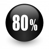 80 percent black glossy internet icon