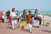 ST.LEONARDS-ON-SEA, ENGLAND - JULY 12, 2014: The Musifar Gypsies of Rajasthan, Indian music group, l