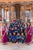 Young Nepalese Students On A School Trip To Bhaktapur
