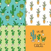 We love cacti seamless cactus illustration background pattern set and postcard cover design in vecto