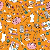 Seamless sewing supplies and sewing machine diy supply illustration background pattern in vector