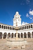 View Of The Campanile Of San Francisco Xavier University In Sucre, Bolivia, With Its Patio's Archway