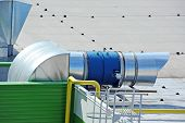 image of ventilator  - Industrial air conditioning and ventilation systems on a roof - JPG