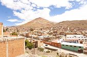 Perspective From Potosi, Bolivia, One Of The Hightest Cities In The World, With The Cerro Rico Mount