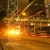 Car light trails and urban landscape,Hong Kong