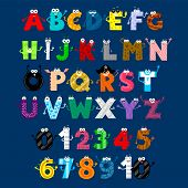 Alphabet & Numbers Monster Cartoon Characters