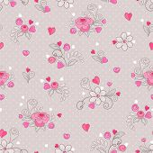 Seamless pattern of hearts and flowers in retro style.