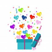Colorful gift box and heart balloons vector greeting card