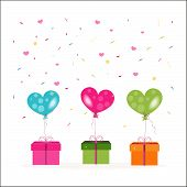 Colorful gift box and heart balloons with confetti vector