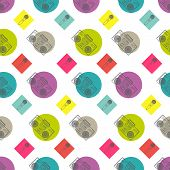 Music flat line retro seamless pattern with boombox, mic, cassete. Vector illustration for your artw