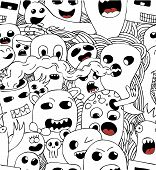 Monsters seamless vector pattern in black and white