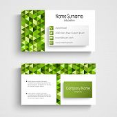 Modern Business Card With Green A Triangular Pattern