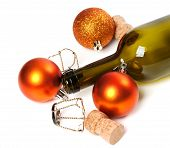 Empty Bottle Of Wine, Corks, Muselets And Christmas Decorations